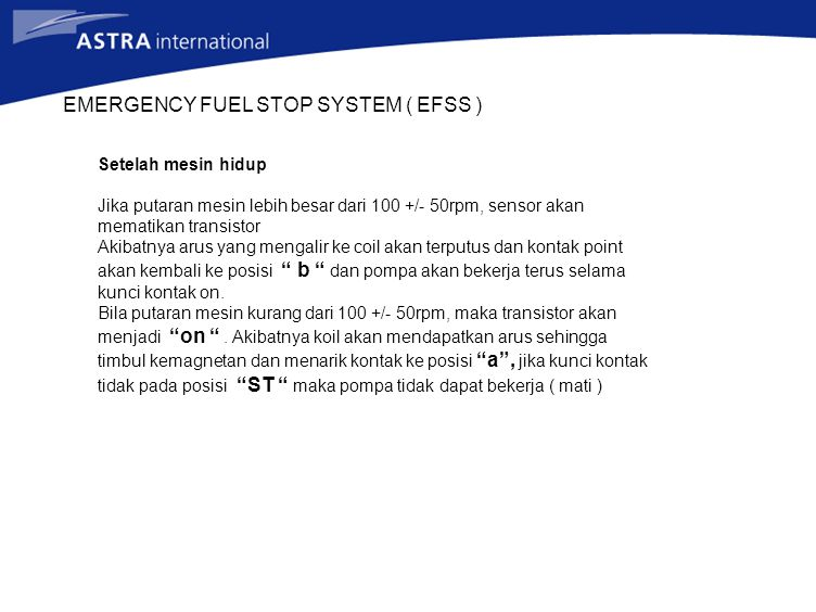 EMERGENCY FUEL STOP SYSTEM ( EFSS )