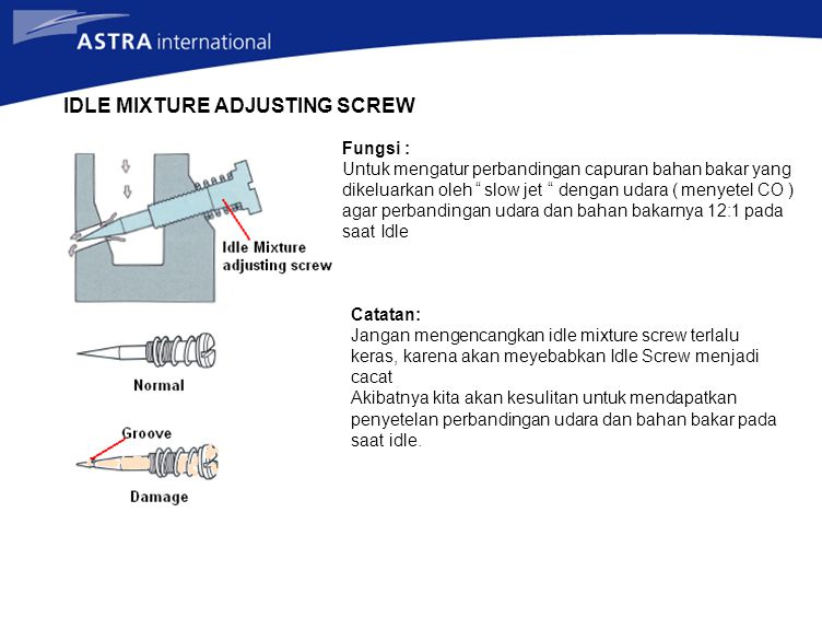 IDLE MIXTURE ADJUSTING SCREW