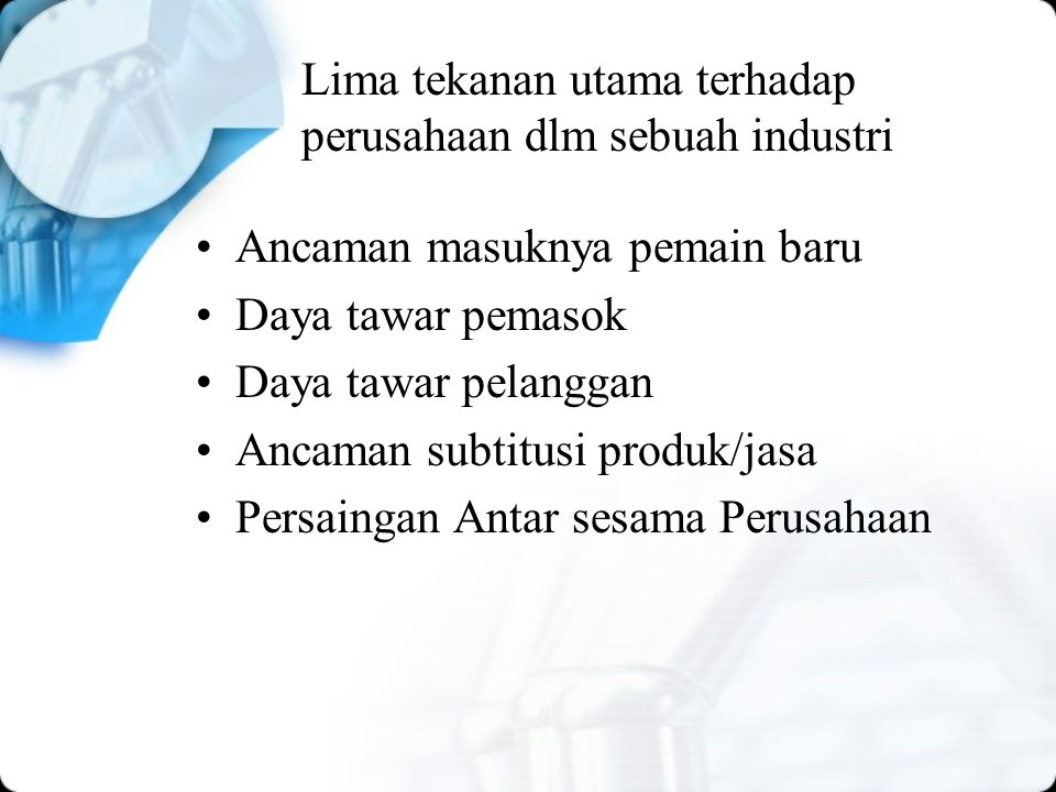 Lima tekanan utama terhadap perusahaan dlm sebuah industri