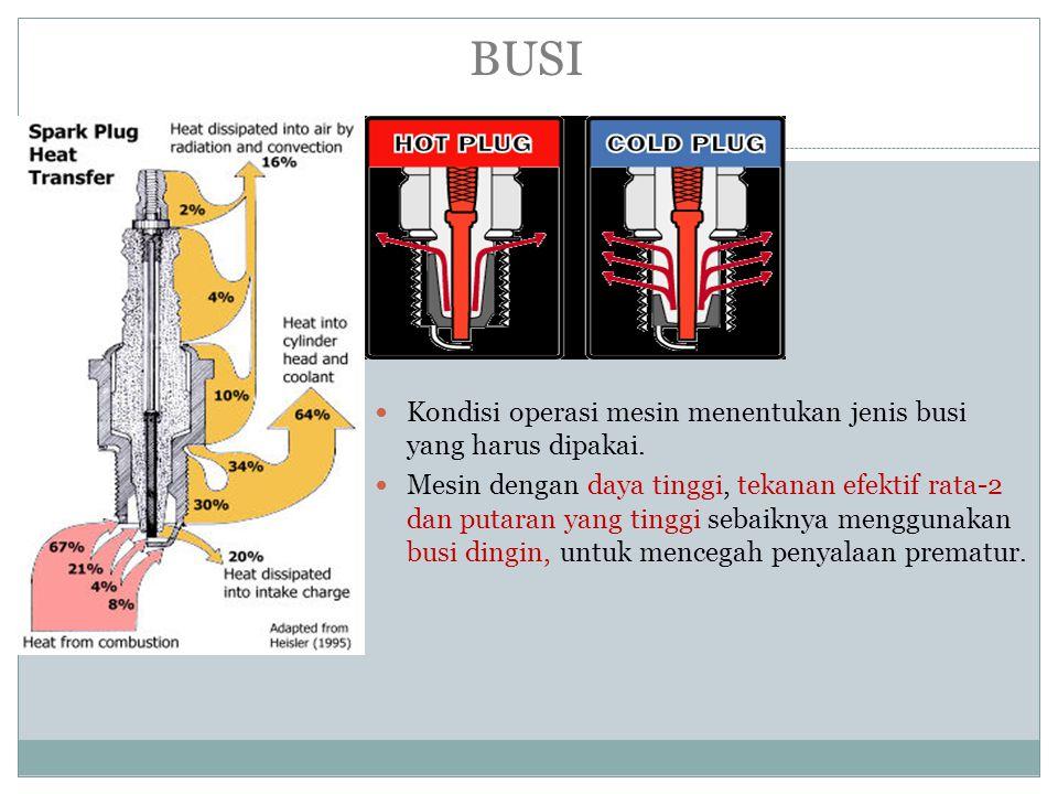 BUSI Kondisi operasi mesin menentukan jenis busi yang harus dipakai.