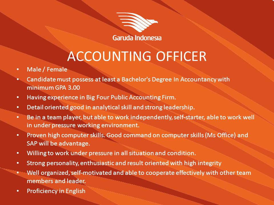 ACCOUNTING OFFICER Male / Female