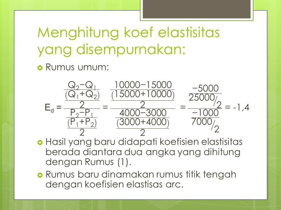 Menghitung koef elastisitas yang disempurnakan: