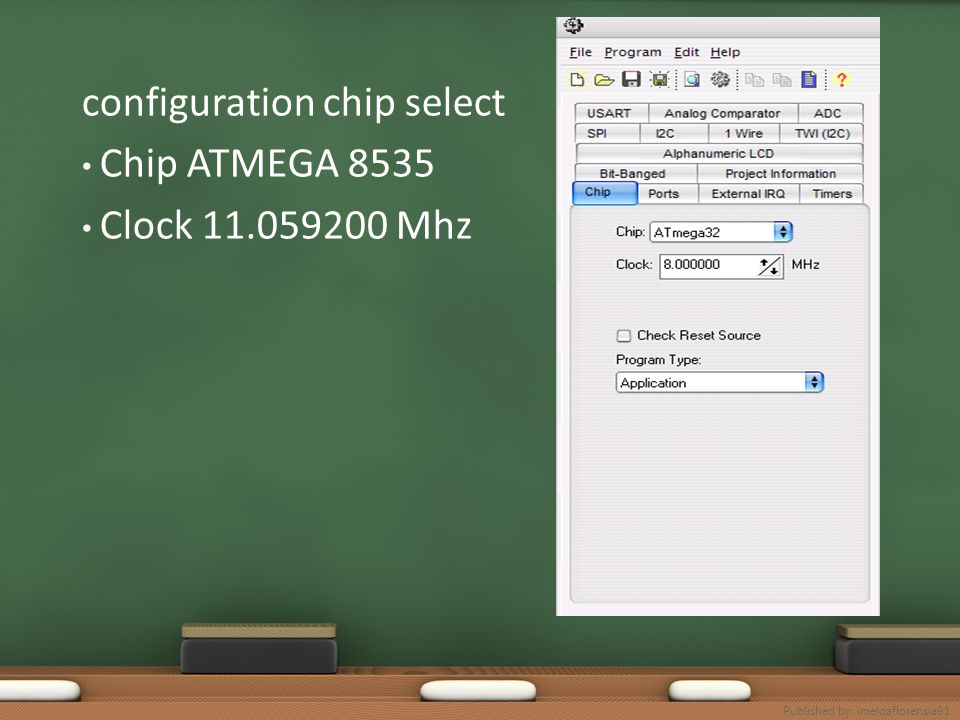 configuration chip select Chip ATMEGA 8535 Clock 11.059200 Mhz