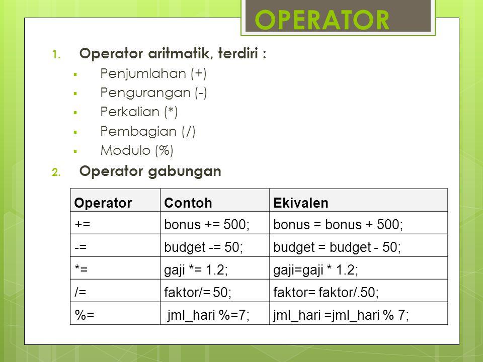 OPERATOR Operator aritmatik, terdiri : Operator gabungan