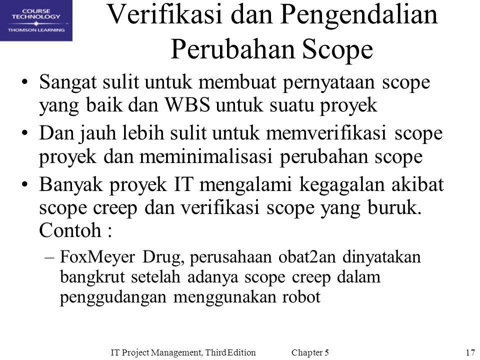 Verifikasi dan Pengendalian Perubahan Scope