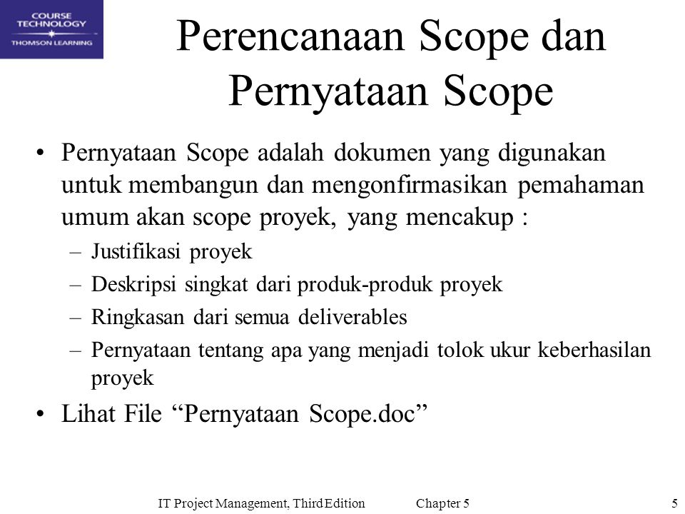 Perencanaan Scope dan Pernyataan Scope