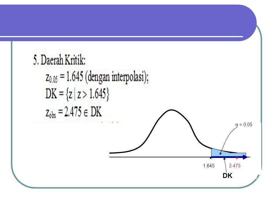 α = 0.05 • 1.645 • 2.475 DK