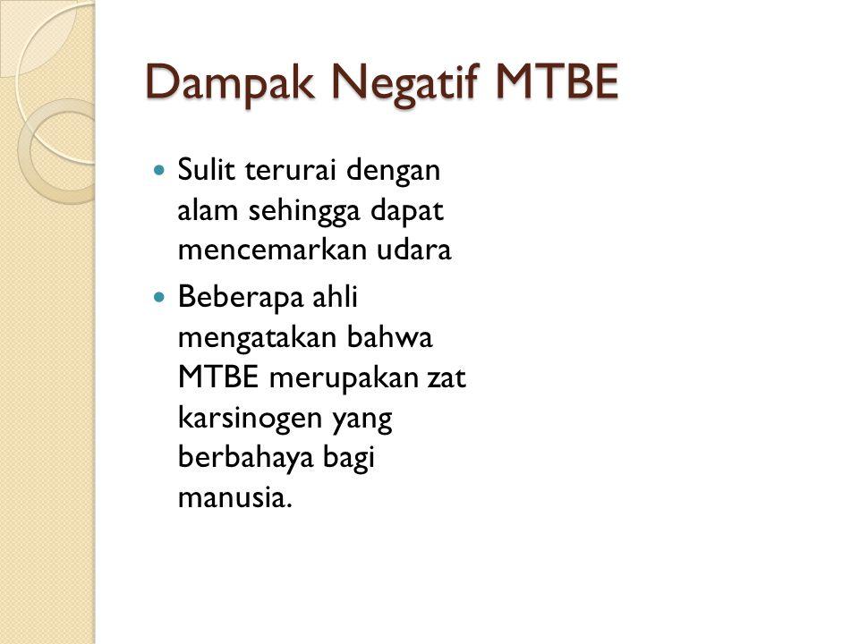 Dampak Negatif MTBE Sulit terurai dengan alam sehingga dapat mencemarkan udara.