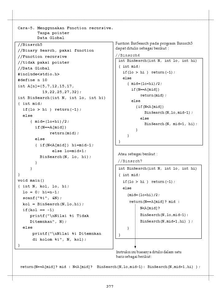 Cara-5. Menggunakan Function recursive. Tanpa pointer Data Global