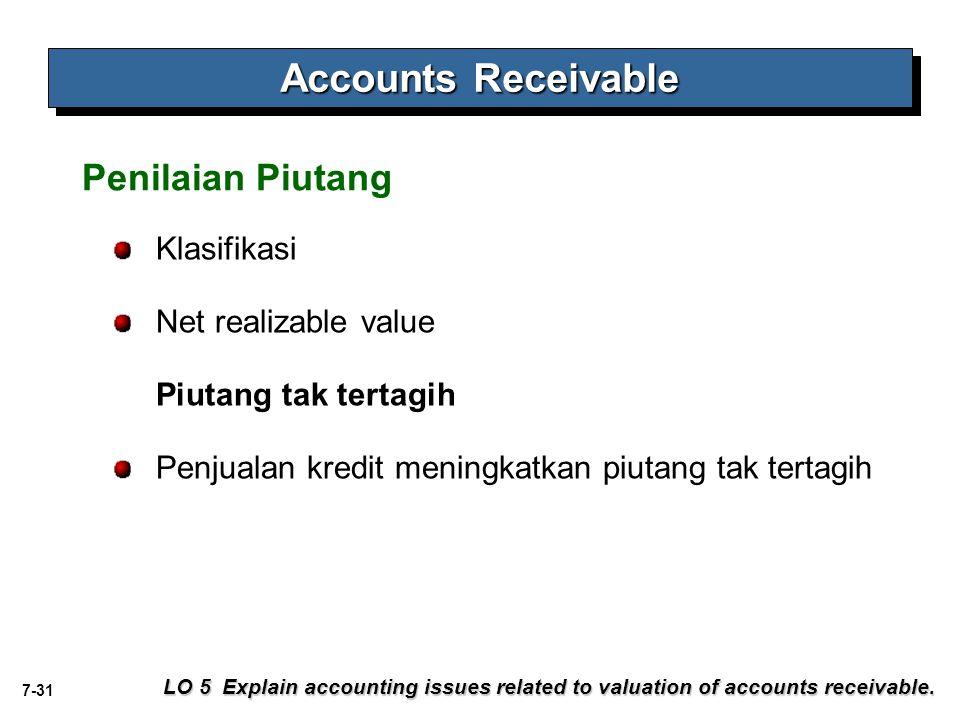 Accounts Receivable Penilaian Piutang Klasifikasi Net realizable value