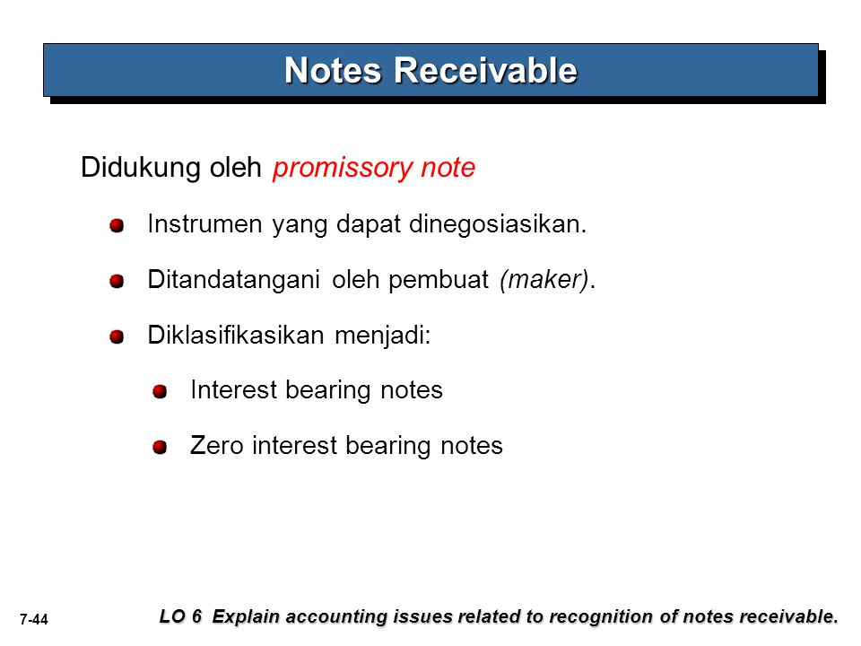 Notes Receivable Didukung oleh promissory note