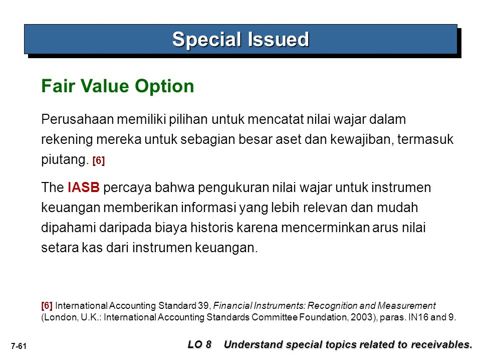 Special Issued Fair Value Option