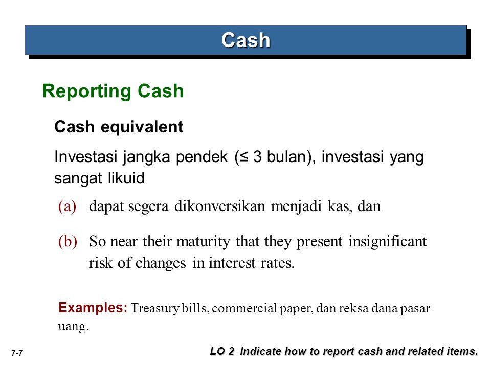 Cash Reporting Cash Cash equivalent