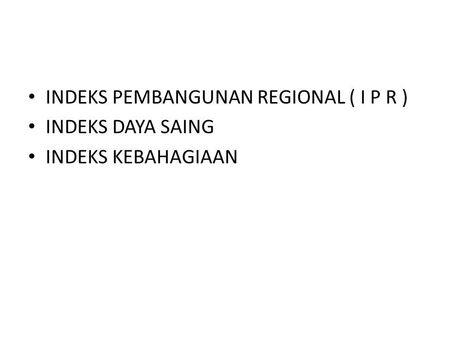 INDEKS PEMBANGUNAN REGIONAL ( I P R )