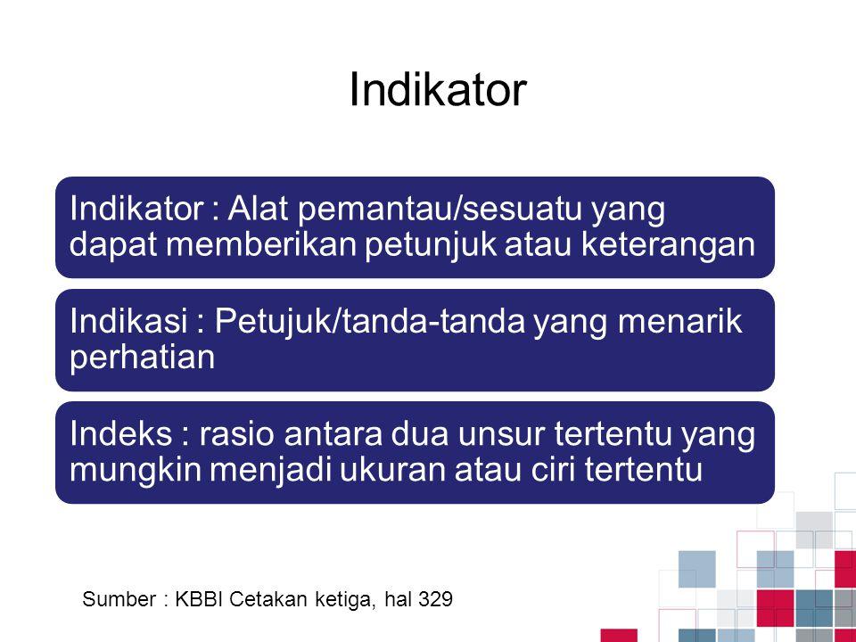 Indikator Sumber : KBBI Cetakan ketiga, hal 329