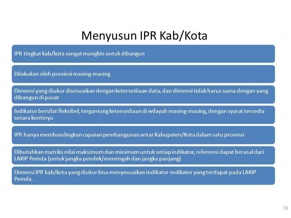 Menyusun IPR Kab/Kota IPR tingkat kab/kota sangat mungkin untuk dibangun. Dilakukan oleh provinsi masing-masing.