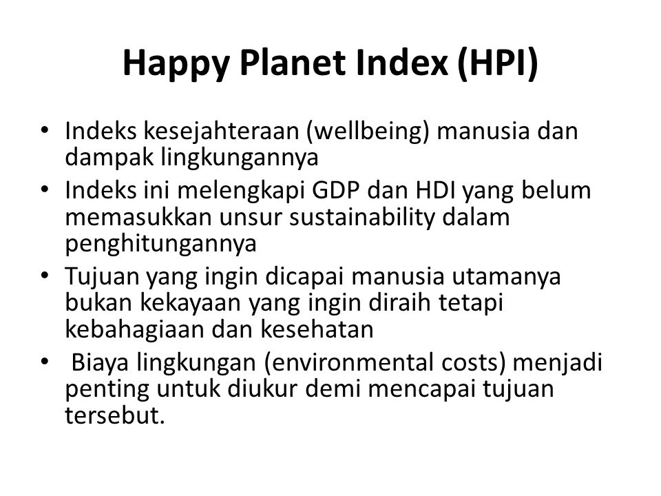 Happy Planet Index (HPI)