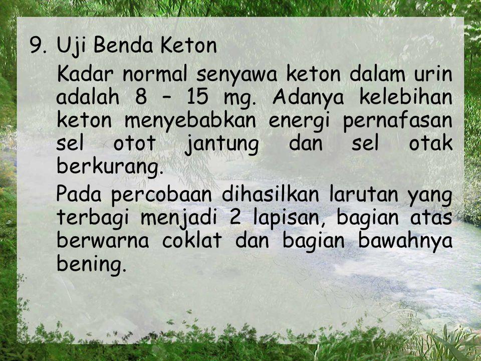 9. Uji Benda Keton Kadar normal senyawa keton dalam urin adalah 8 – 15 mg.