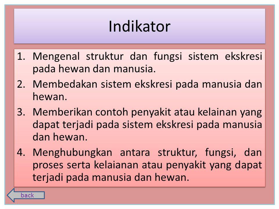 Indikator Mengenal struktur dan fungsi sistem ekskresi pada hewan dan manusia. Membedakan sistem ekskresi pada manusia dan hewan.
