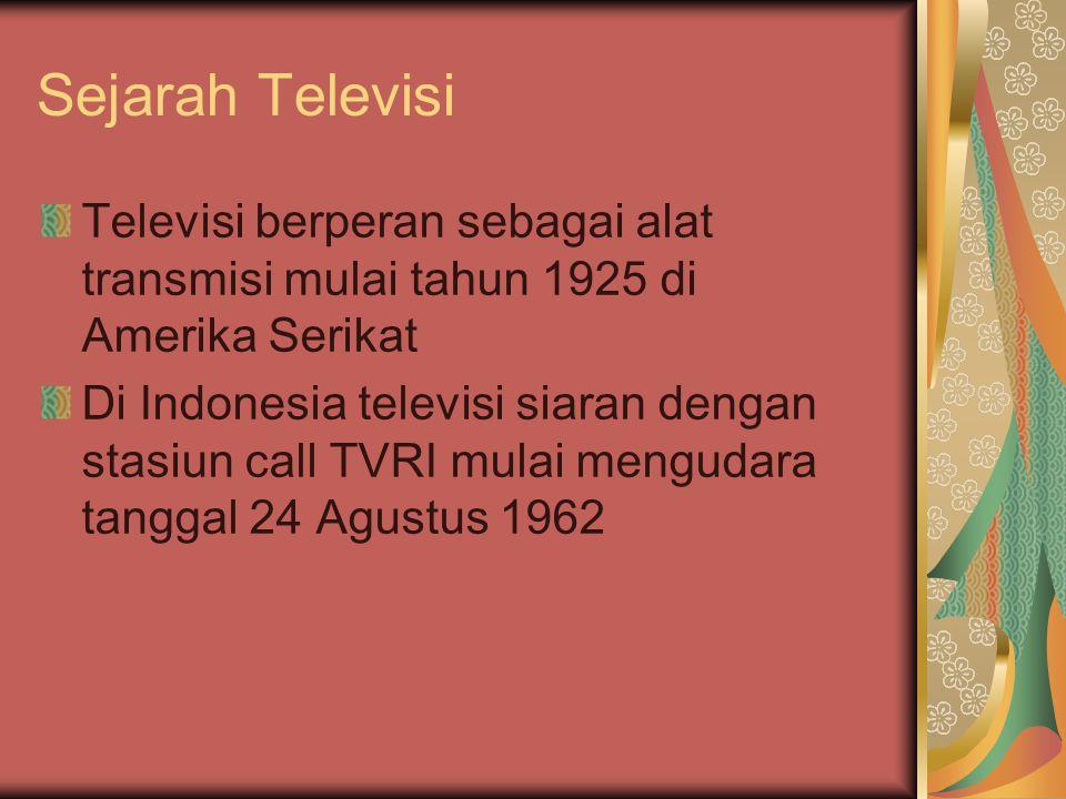 Sejarah Televisi Televisi berperan sebagai alat transmisi mulai tahun 1925 di Amerika Serikat.