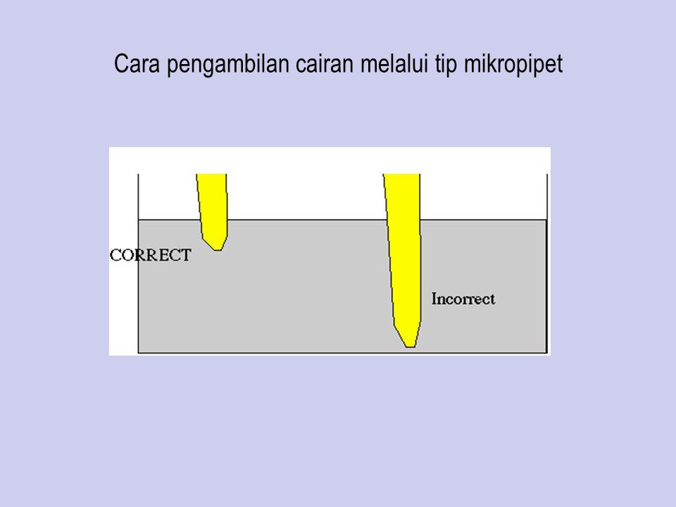 Cara pengambilan cairan melalui tip mikropipet