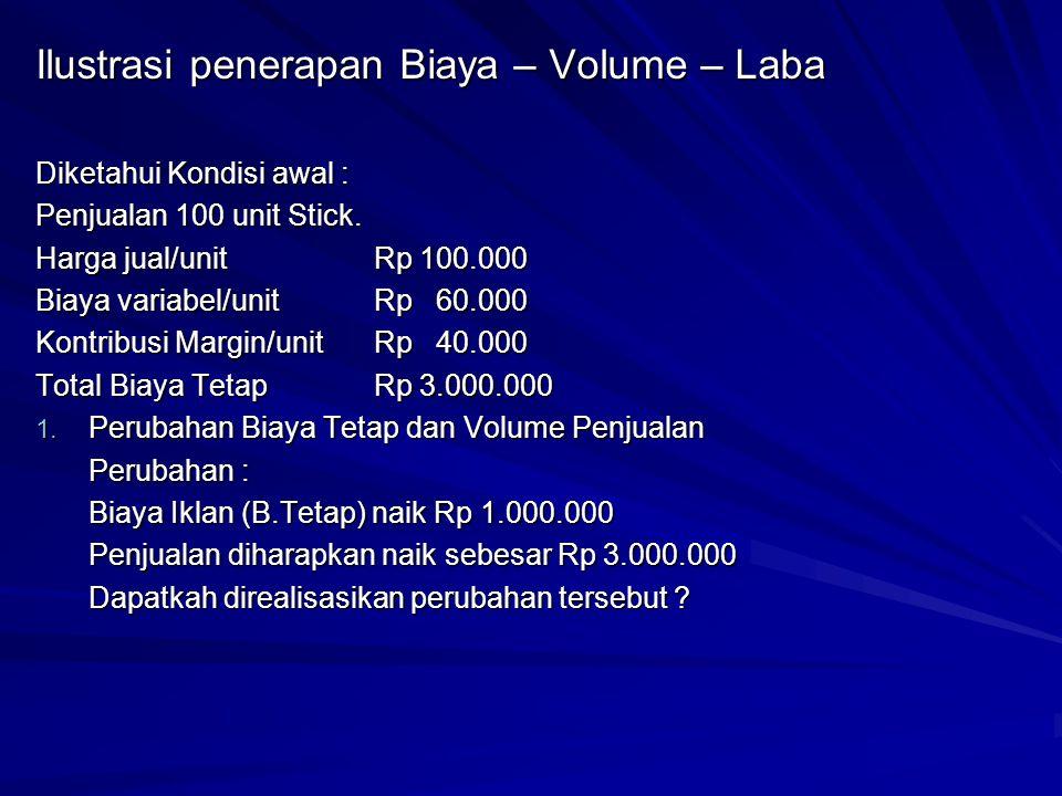 Ilustrasi penerapan Biaya – Volume – Laba