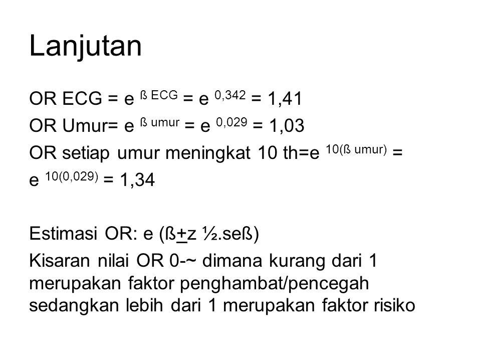 Lanjutan OR ECG = e ß ECG = e 0,342 = 1,41