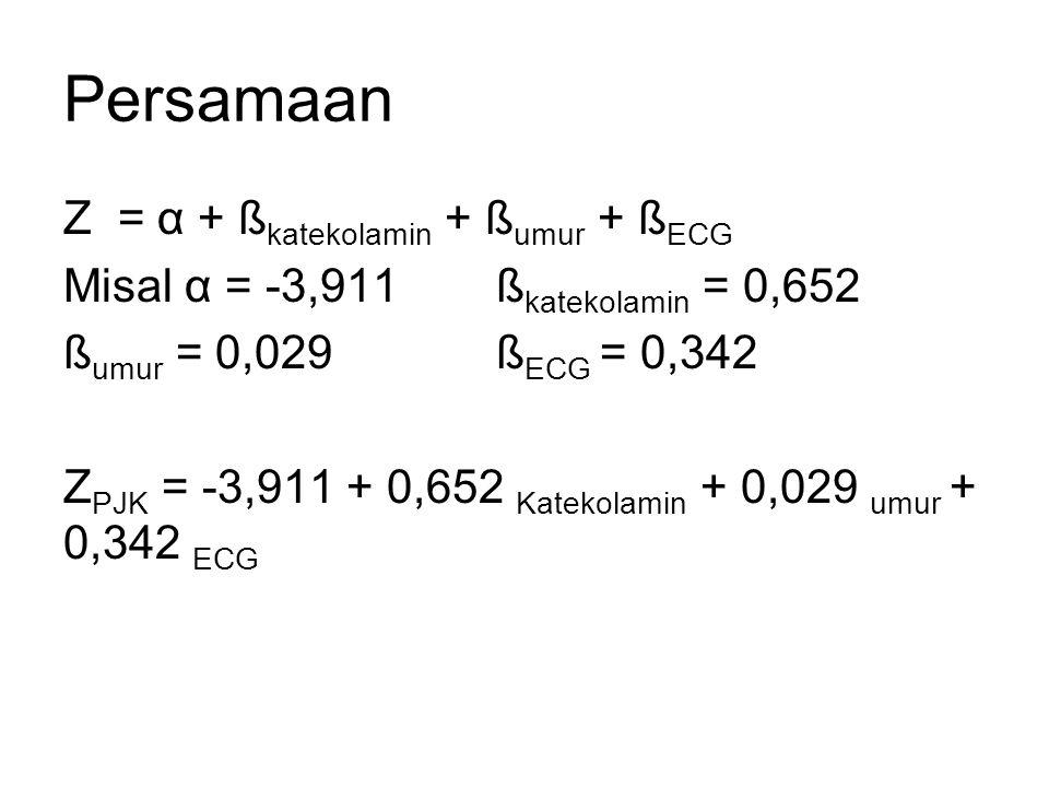 Persamaan Z = α + ßkatekolamin + ßumur + ßECG