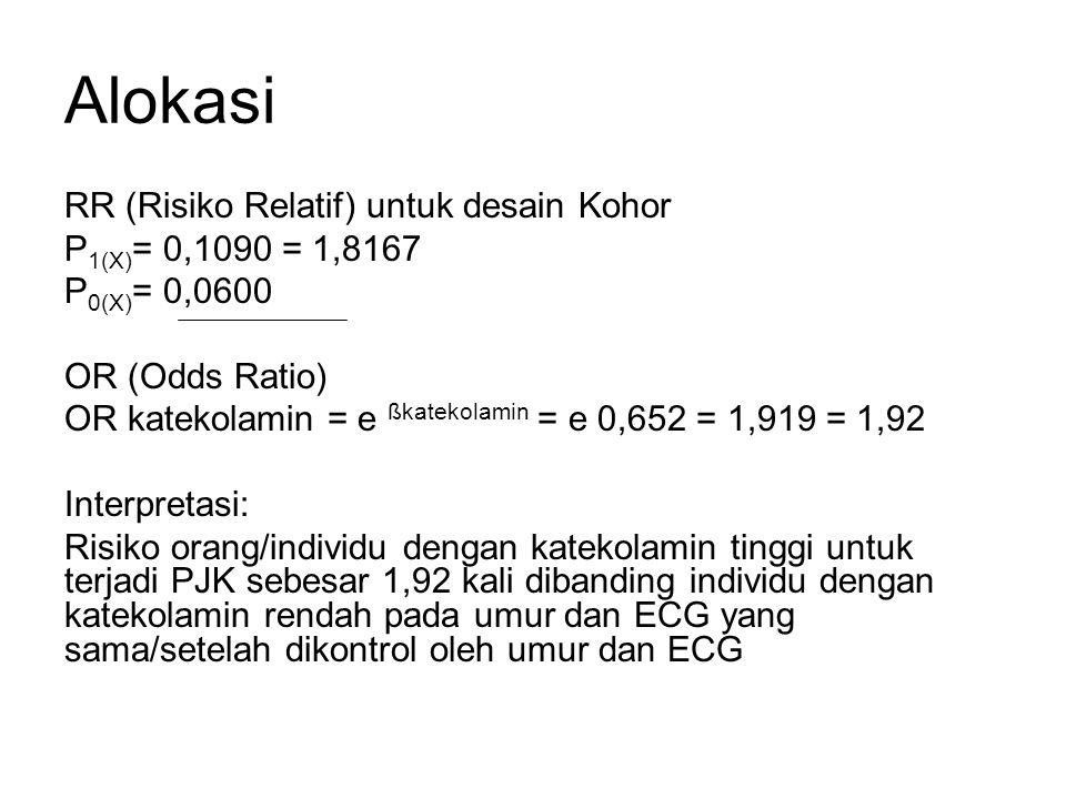 Alokasi RR (Risiko Relatif) untuk desain Kohor P1(X)= 0,1090 = 1,8167