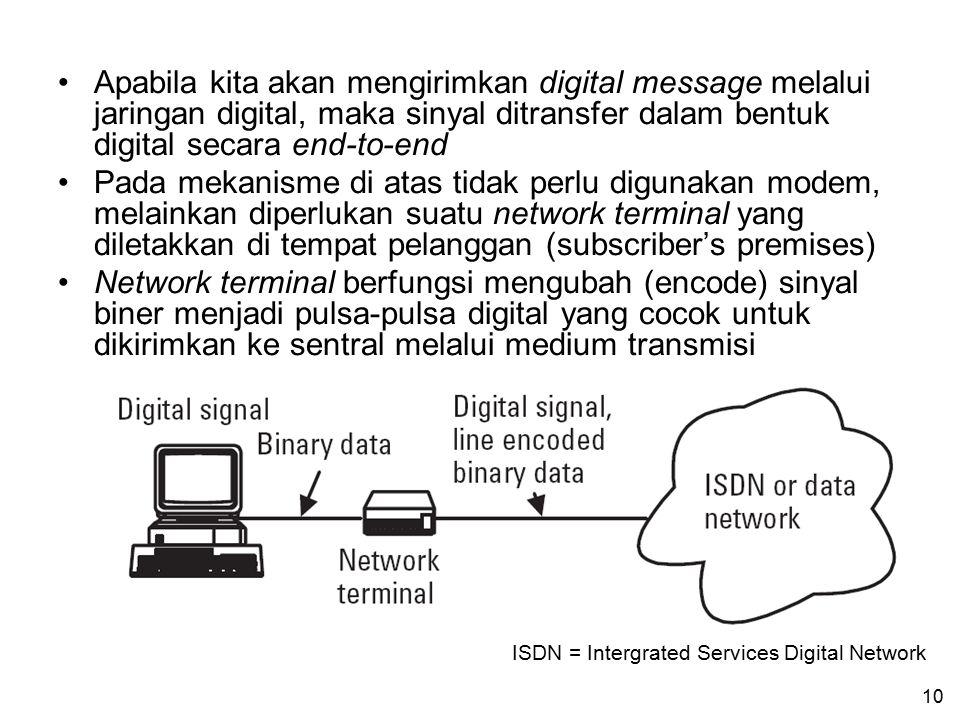 Apabila kita akan mengirimkan digital message melalui jaringan digital, maka sinyal ditransfer dalam bentuk digital secara end-to-end