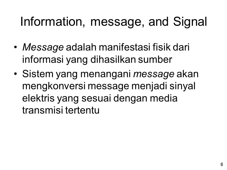 Information, message, and Signal