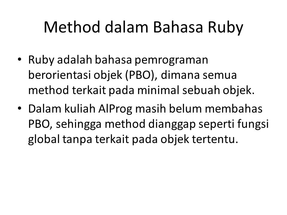 Method dalam Bahasa Ruby