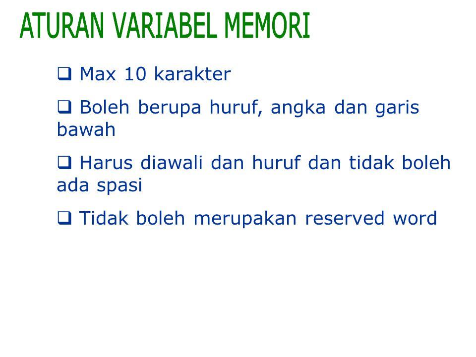 ATURAN VARIABEL MEMORI