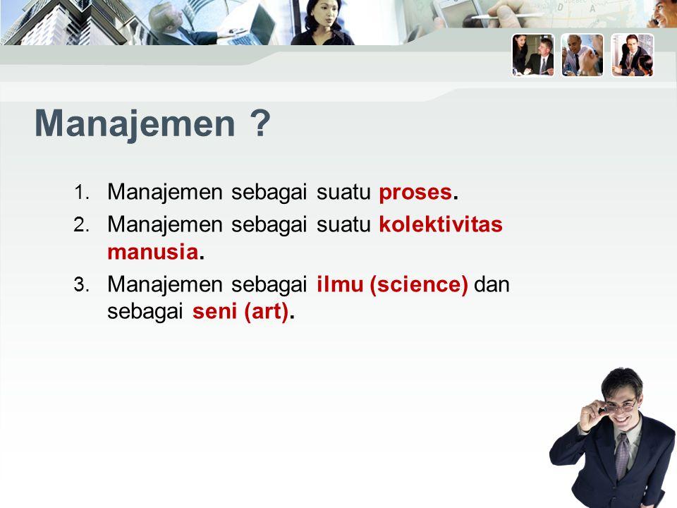 Manajemen Manajemen sebagai suatu proses.