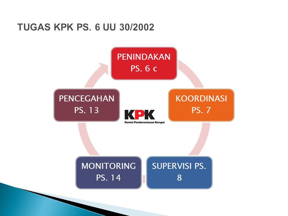 TUGAS KPK PS. 6 UU 30/2002 PENINDAKAN PS. 6 c KOORDINASI PS. 7