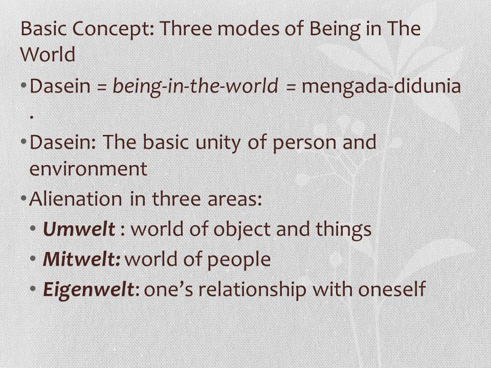 Basic Concept: Three modes of Being in The World