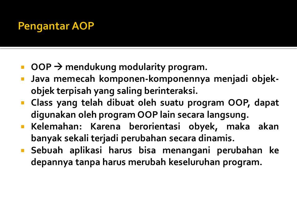 Pengantar AOP OOP  mendukung modularity program.