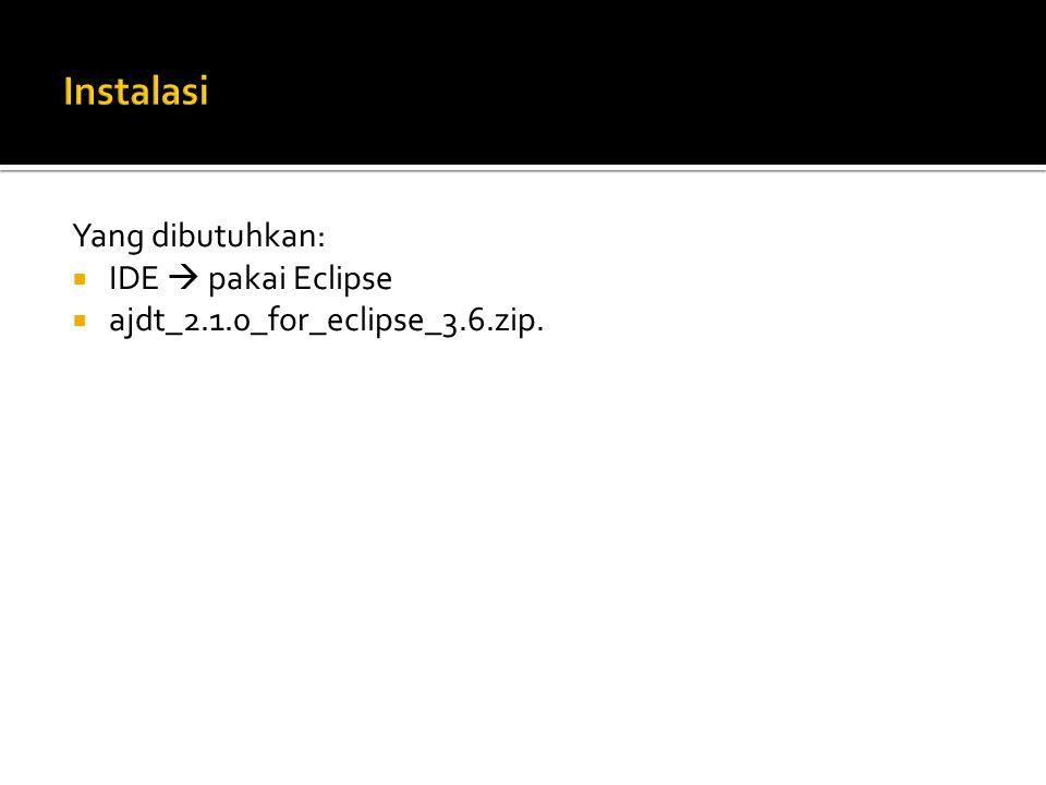 Instalasi Yang dibutuhkan: IDE  pakai Eclipse