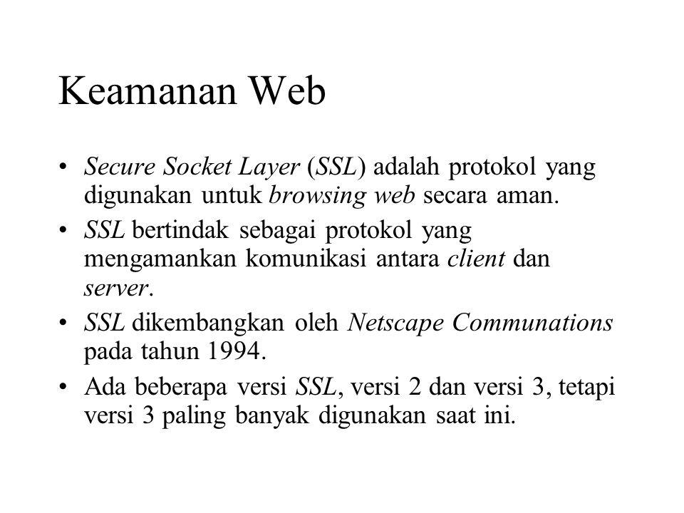 Keamanan Web Secure Socket Layer (SSL) adalah protokol yang digunakan untuk browsing web secara aman.
