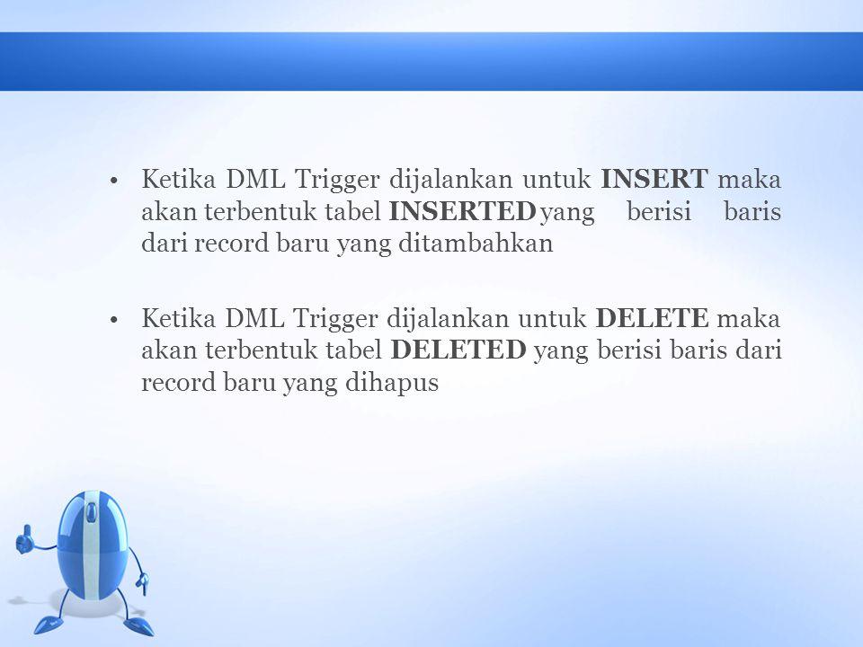 Ketika DML Trigger dijalankan untuk INSERT maka akan terbentuk tabel INSERTED yang berisi baris dari record baru yang ditambahkan