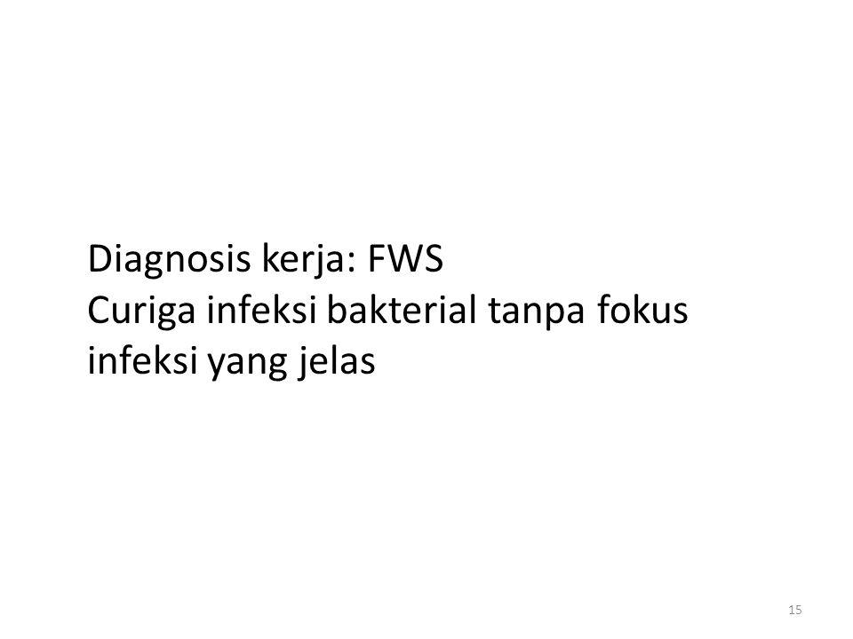 Diagnosis kerja: FWS Curiga infeksi bakterial tanpa fokus infeksi yang jelas