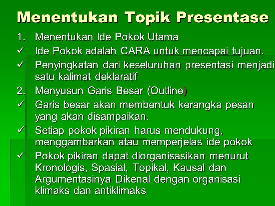 Menentukan Topik Presentase