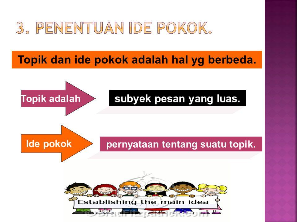 3. PenenTuan ide pokok. Topik dan ide pokok adalah hal yg berbeda.