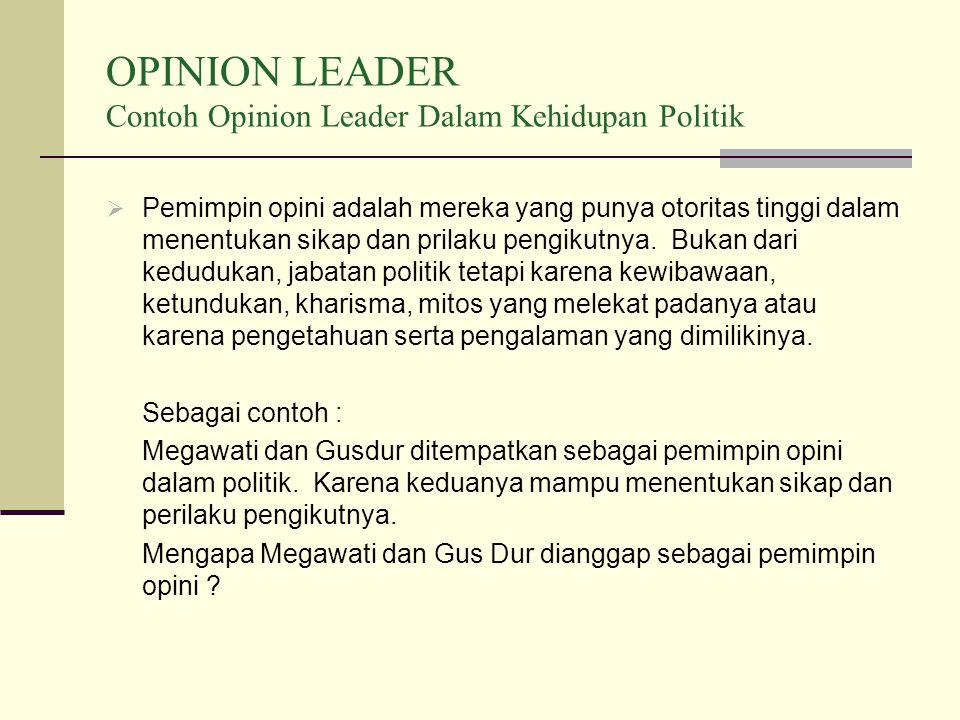 OPINION LEADER Contoh Opinion Leader Dalam Kehidupan Politik