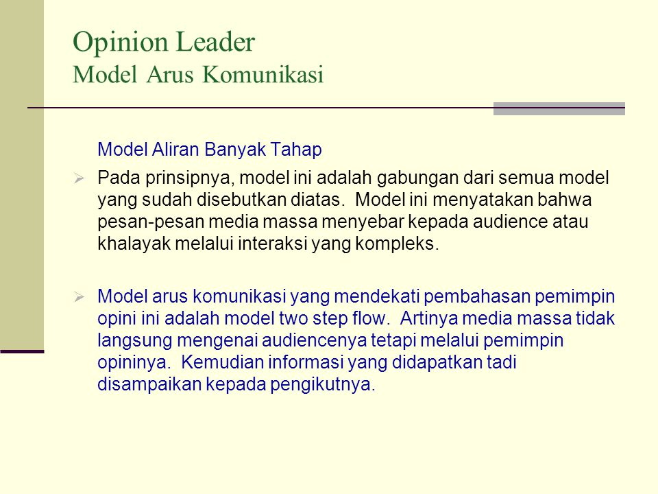 Opinion Leader Model Arus Komunikasi
