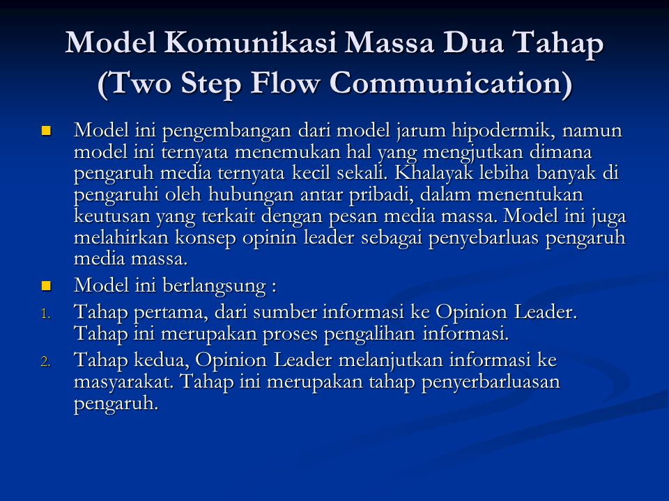 Model Komunikasi Massa Dua Tahap (Two Step Flow Communication)
