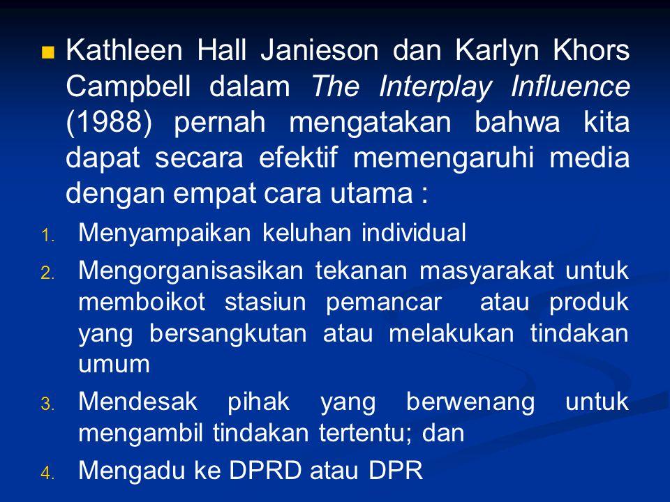 Kathleen Hall Janieson dan Karlyn Khors Campbell dalam The Interplay Influence (1988) pernah mengatakan bahwa kita dapat secara efektif memengaruhi media dengan empat cara utama :