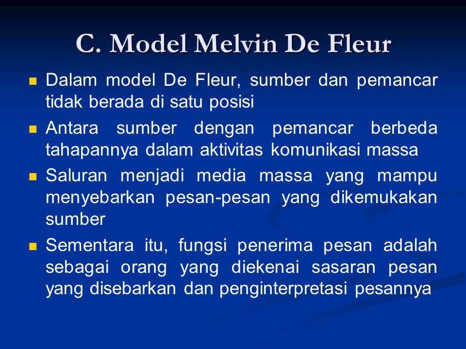 C. Model Melvin De Fleur Dalam model De Fleur, sumber dan pemancar tidak berada di satu posisi.