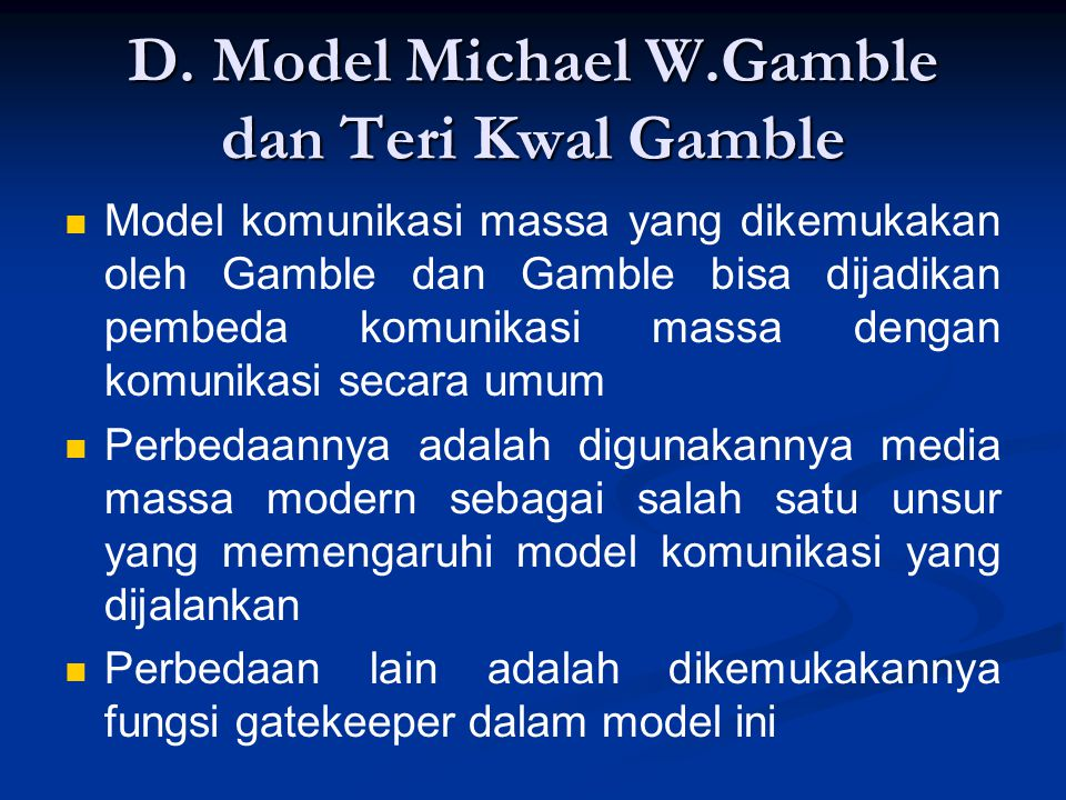 D. Model Michael W.Gamble dan Teri Kwal Gamble