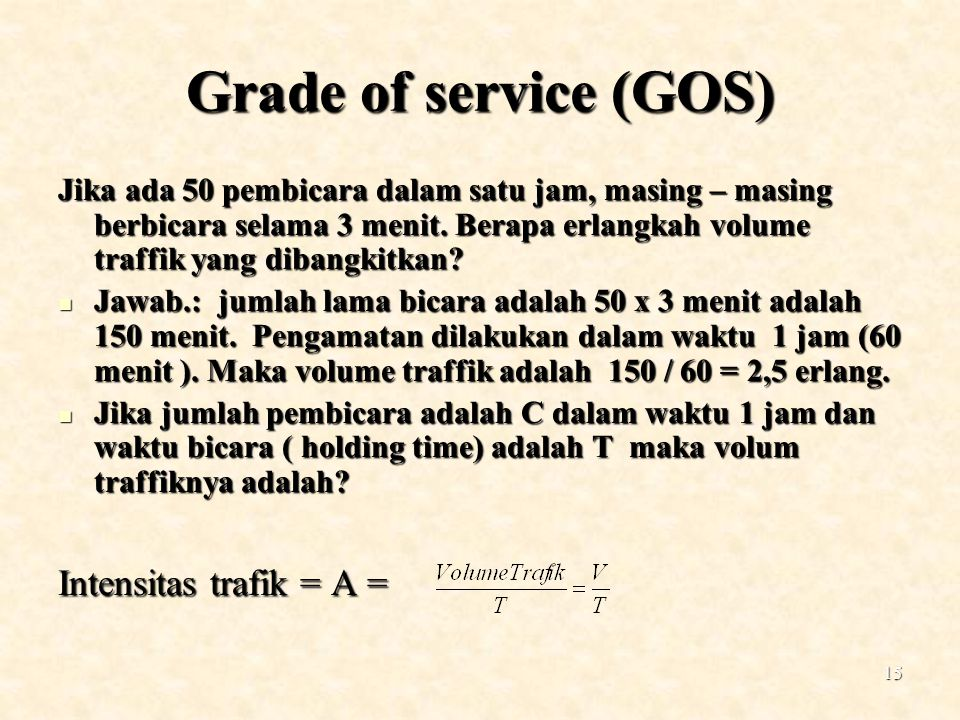Grade of service (GOS) Intensitas trafik = A =